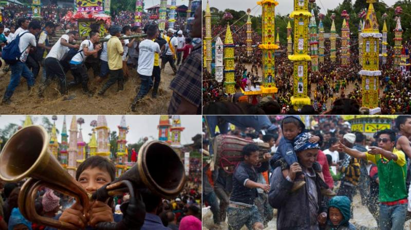 Behdienkhlam is a traditional festival of the Pnars celebrated after sowing is done seeking a good harvest and to drive away plague and diseases. (Photo: AP)
