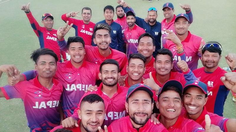 Chasing a target of 255 runs, Nepalese batsmen surpassed the winning line within 45 overs of their innings. (Photo: Twitter / Paras Khadka)