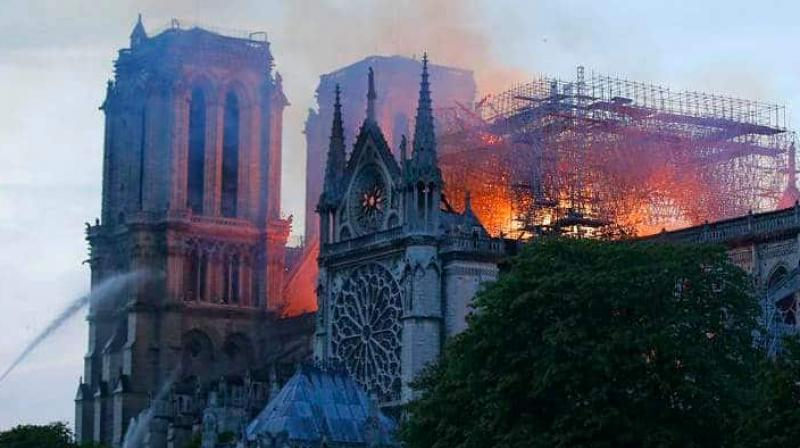 Nearly two-thirds of the roof of the Cathedral was severely damaged by the devastating fire. (Photo: AFP)