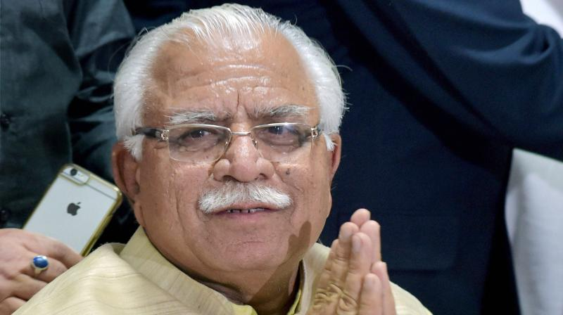 Khattar left for Delhi in a helicopter. He boarded the chopper from the helipad near his official residence here, sources said.  (Photo: File)