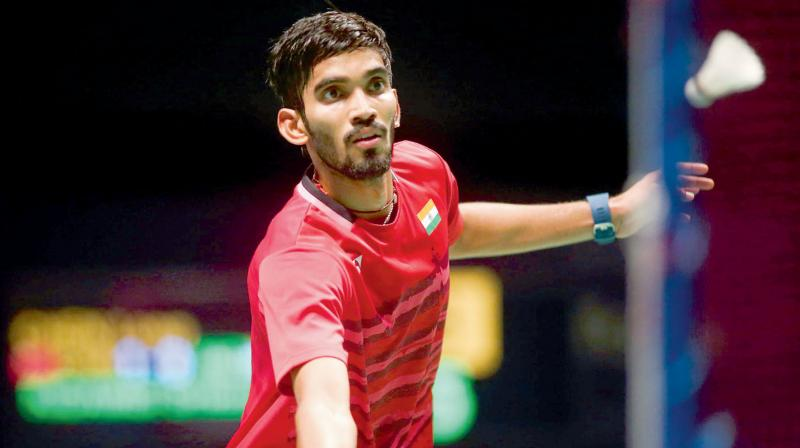 India's Srikanth Kidambi in action during his men's singles Sudirman Cup match against Chen Long of China at the Gold Coast Sports Centre. (Photo: AFP)