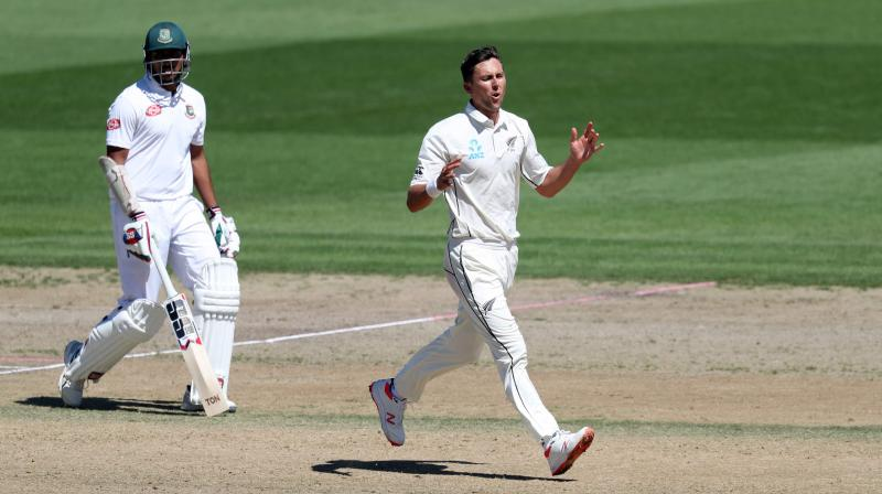 Boult's late burst gave him figures of three for 38. (Photo: AFP)