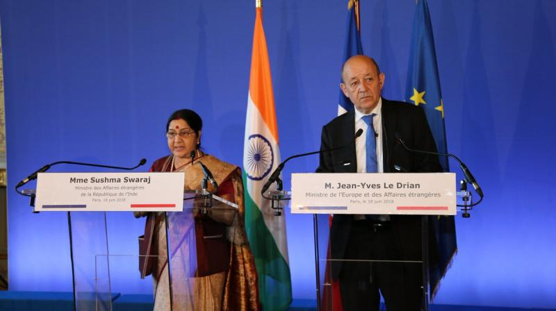 She said the visits of Prime Minister Modi to France in April 2015 and June 2017 and Macron to India have infused new momentum and dynamism to bilateral strategic partnership, brought about increased political convergence and built deep mutual trust. (Photo: @MEAIndia/Twitter)