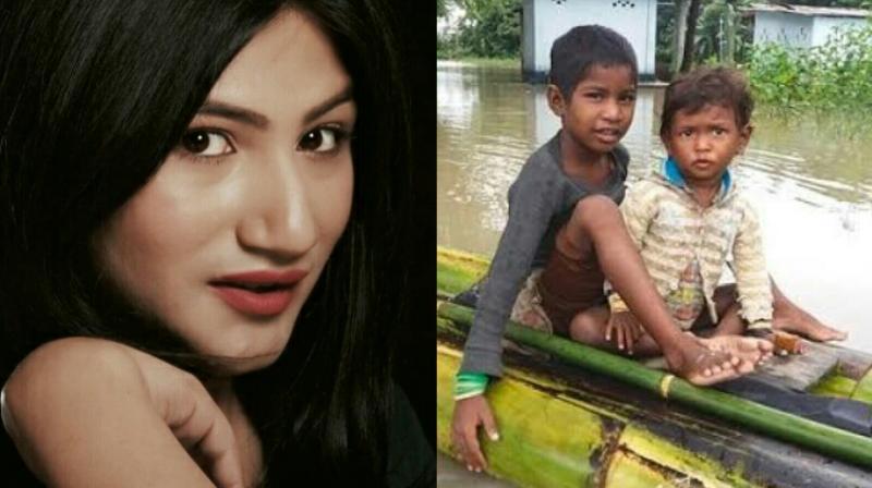 Mahika Sharma helps Assam flood victims.