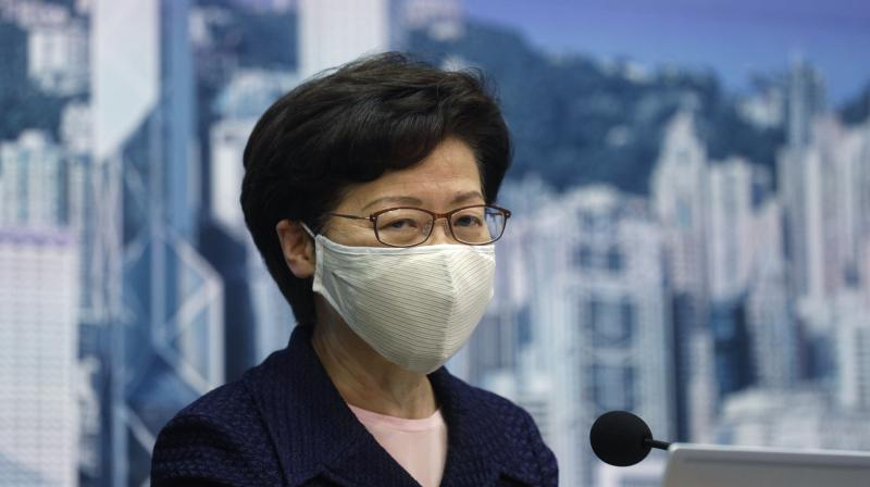 Hong Kong Chief Executive Carrie Lam speaks during a news conference in Hong Kong. (AP)