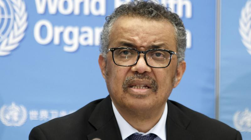Tedros Adhanom Ghebreyesus, Director General of the World Health Organization (WHO), addresses a press conference about the update on COVID-19 at the World Health Organization headquarters in Geneva, Switzerland. (AP)