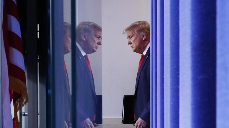 President Donald Trump arrives for a briefing with reporters in the James Brady Press Briefing Room of the White House. (AP)