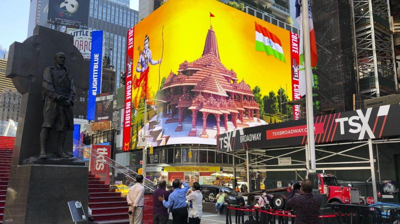 Imagery of the Hindu deity Ram and 3-D portraits of the proposed Hindu temple are displayed on a digital billboard in Times Square. (AP)