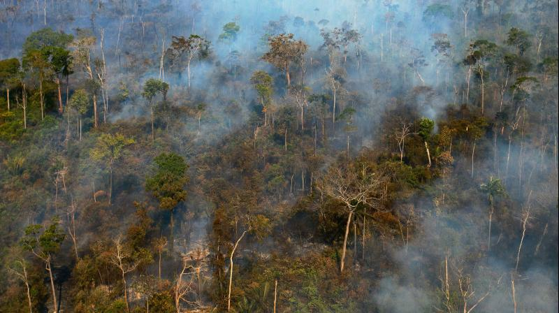 Aerial view showing smoke billowing from a part of the Amazon rainforest reserve north of Sinop, in Mato Grosso State, Brazil. (AFP)
