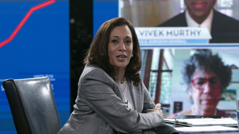 Democratic presidential candidate former Vice President Joe Biden's running mate Senator Kamala Harris, and Biden receive a virtual briefing on COVID-19 from public health experts in Wilmington. (AP)
