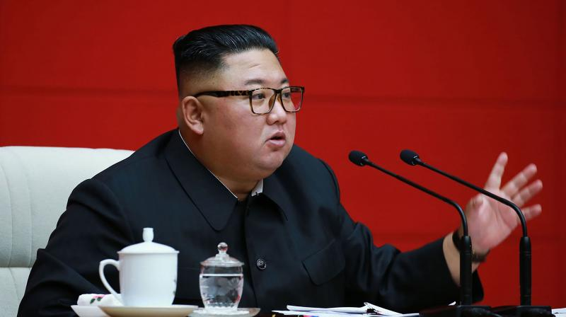 North Korean leader Kim Jong Un speaking during a meeting of the ruling Workers' Party of Korea (WPK) in Pyongyang. (via AFP)