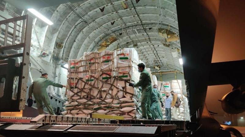 The materials were transported by an IAF C-17 transport aircraft that landed in Beirut earlier in the day on Friday.(Photo: MEAIndia/Twitter)