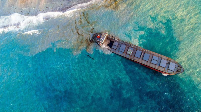 An aerial view taken on August 15, 2020 shows the vessel MV Wakashio, belonging to a Japanese company but Panamanian-flagged that had run aground near Blue Bay Marine Park, Mauritius three weeks ago. (AFP)