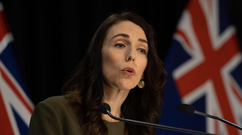 Prime Minister of New Zealand Jacinda Ardern speaks to the media about changing the 2020 general election date during a press conference at the Parliament in Wellington on August 17, 2020.. (AFP)
