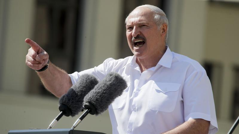 Belarusian President Alexander Lukashenko addresses his supporters gathered at Independent Square of Minsk, Belarus, Sunday, Aug. 16, 2020. (AP)
