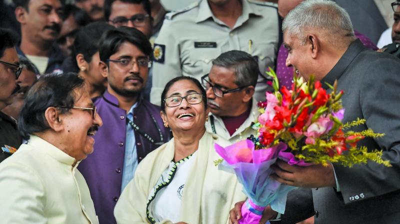 West Bengal governor Jagdeep Dhankar, chief minister Mamata Banerjee and speaker Biman Bandyopadhyay at the Legislative Assembly in Kolkata on Friday. (Photo: PTI)