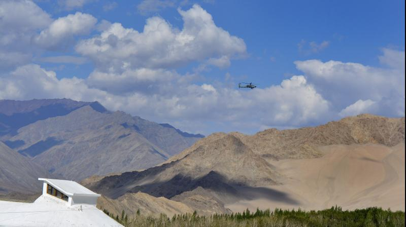 An IAF plane flies over Ladakh amid standoff between Indian and Chinese troops in Eastern Ladakh. PTI photo