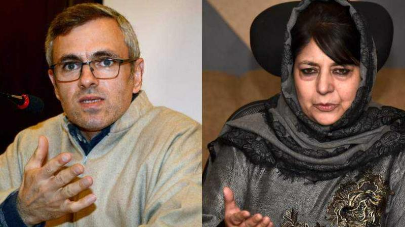 Former Jammu and Kashmir Chief Ministers Omar Abdullah and Mehbooba Mufti (Photo PTI/File)