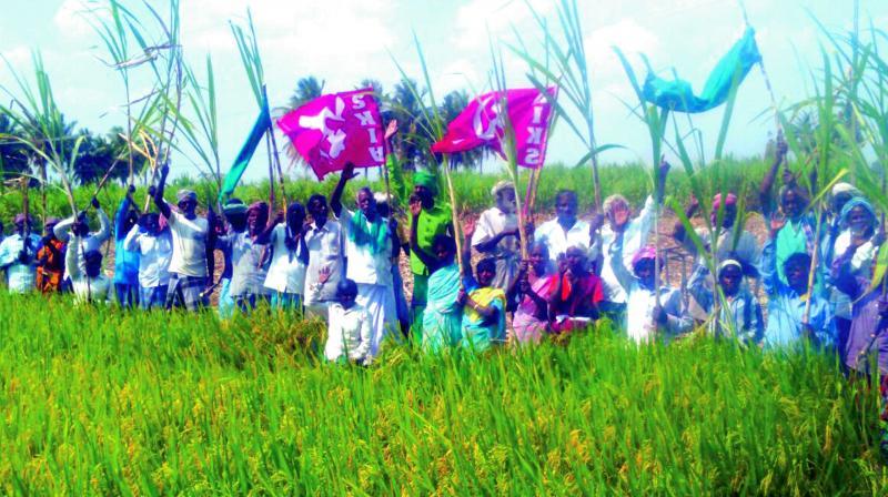 Farmer associations stage demonstration in Mettutheru village near Ariyalur. (Photo: Asian Age)