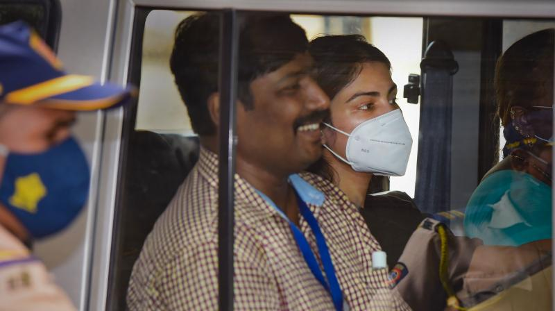 NCB officers take Bollywood actress Rhea Chakraborty to Byculla women's prison in Mumbai — PTI