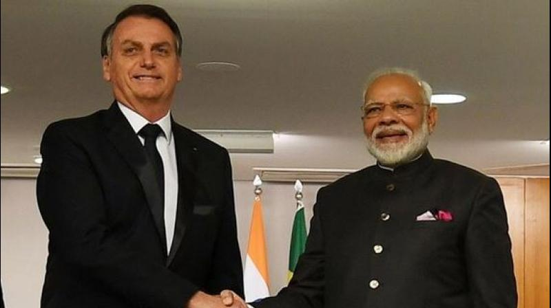 Prime Minister Modi met Bolsonaro on Wednesday on the sidelines of the 11th BRICS Summit held here to focus on building mechanisms for counter-terrorism cooperation and strengthen India's ties with the world's five major economies. (Photo: MEA | Twitter)