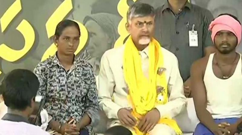 Before sitting on 12-hour long 'Sand Deeksha' fast, Naidu took to Twitter and wrote: