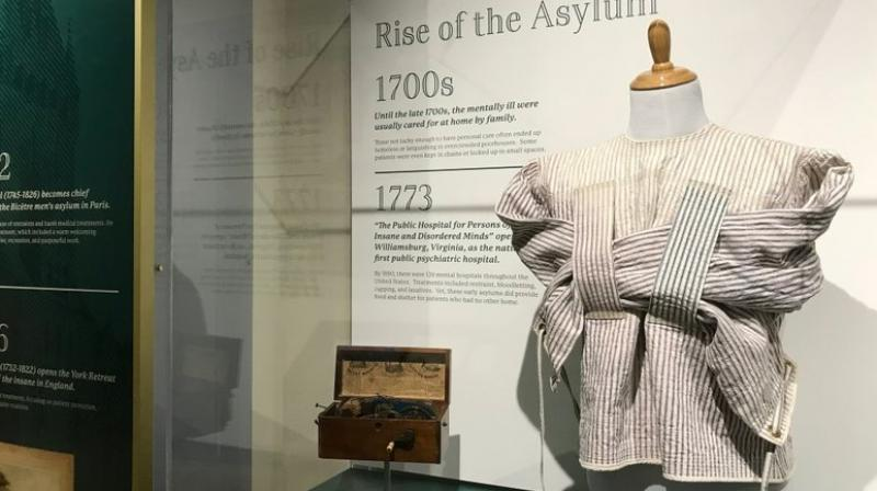 In this photo, an early straitjacket is displayed at the National Museum of Psychology in Akron, Ohio. The National Museum of Psychology at the University of Akron features interactive exhibits, along with thousands of artifacts and documents. The museum was created by Dennis Barrie, who is co-creator of Cleveland's Rock and Roll Hall of Fame. (Photo: AP)
