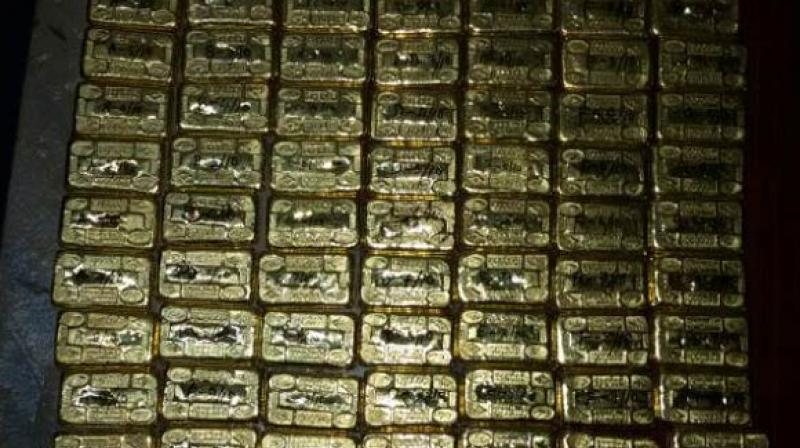 Nightlong searches on passengers and their baggage at the airport here has created a record of sorts as nearly 50 kilos of gold was seized from about 100 passengers who arrived from Colombo, Singapore and Malaysia, sources said. (Photo: Twitter | ANI, Representational)