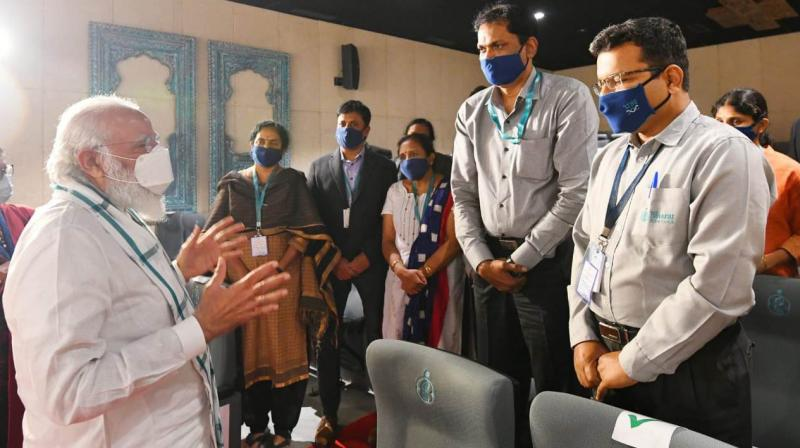 P M Modi at Bharat Biotech in Hyderabad. (DC Image: Pavan Kumar)