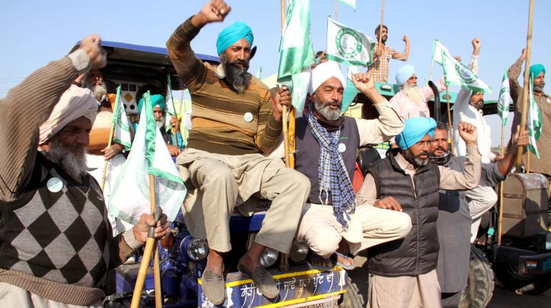 Farmers who came from Punjab and Haryana to protest against the new Farmers Law reached at Burari ground raising slogans to withdraw the anti-farmers law, in New Delhi on Saturday, 28 Nov 2020. (DC Image: D Kamraj)