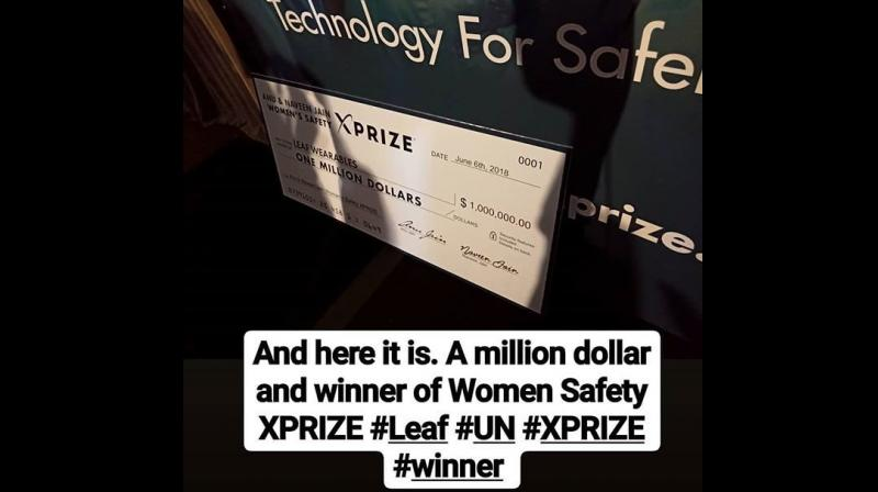 New Delhi-based Leaf Wearables was among the five finalists selected from 85 teams hailing from 18 countries for the million dollar prize instituted by eminent Indian-American philanthropists Anu & Naveen Jain called 'Women's Safety XPRIZE'. (Photo: @leafletparas/Twitter)