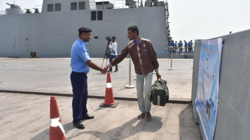 Indian naval ship INS Sunayna rescued the Indians and entered the Porbandar harbour in Gujarat at around 9 am. (Photo: @IndianNavy/Twitter)