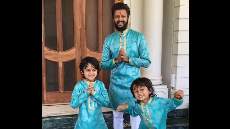 Riteish Deshmukh with his sons Riaan and Rahyl