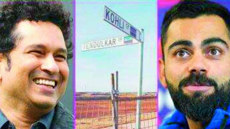 (on left) Sachin Tendulkar and Virat Kohli