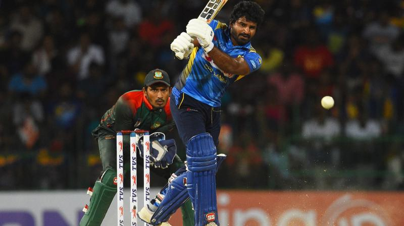 Kusal Perera and Avishka Fernando stitched a partnership of 58-runs and helped their side to go past the three-figure mark. (Photo:AFP)