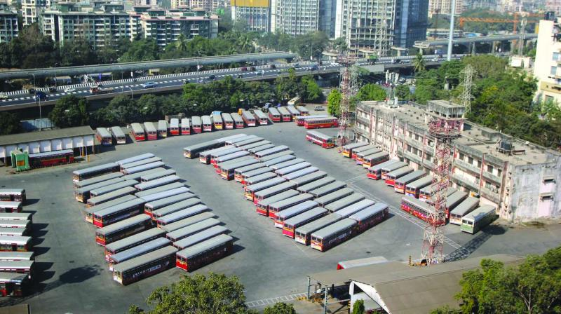 Buses parked at a depot following the strike by BEST employees at Magathane Depot on Tuesday. (Photo: MRUGESH BANDIWADEKAR)