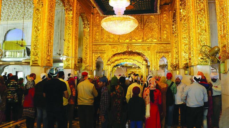 The decked up interiors of Sri Bangla Sahib Gurudwara.