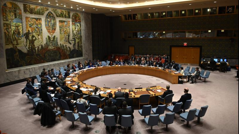 File photo of the UN Security Council meeting in New York on February 26, 2020. (AFP)