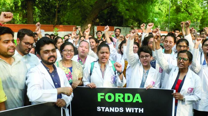 Resident doctors of AIIMS during a protest in New Delhi on Thursday. (Photo: Pritam Bandyopadhyay)