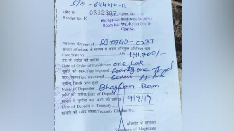 The truck, having a Rajasthan registration number, was caught by the enforcement team on Thursday, the transport department official. (Photo: ANI)