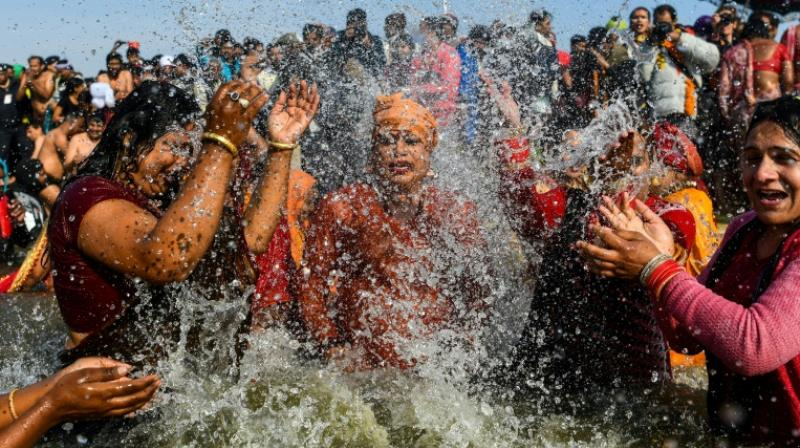 Tuesday was the first time that members of India's estimated two-million-strong transgender community have been allowed to wade in the water at Kumbh Mela festival. (Photo: AFP)