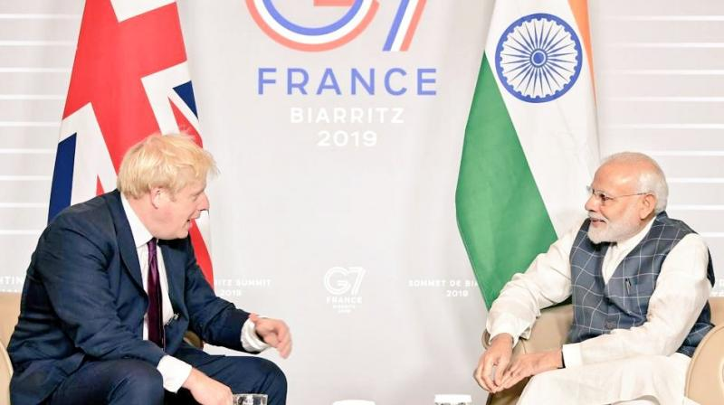 Modi met Johnson on the sidelines of the G-7 Summit being held in this southwestern French city. (Photo: MEA | Twitter)