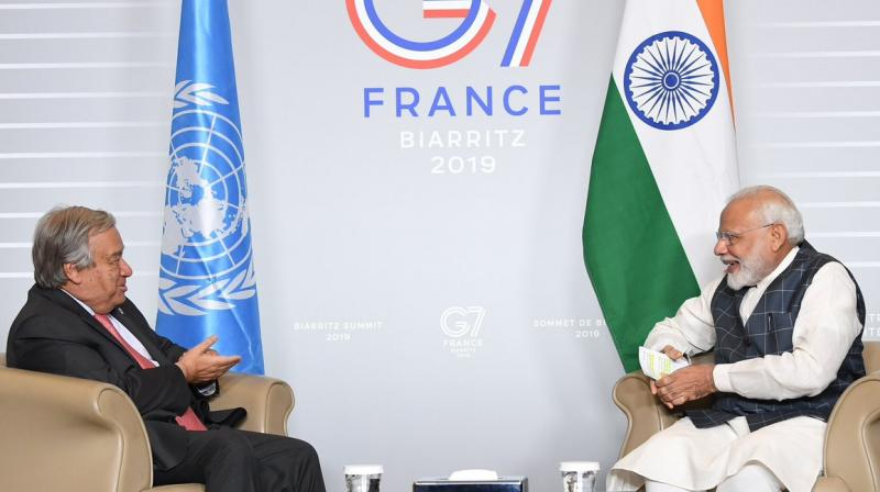 Modi met Guterres on the sidelines of the G-7 Summit being held in this picturesque southwestern seaside French town. (Photo: Narendra Modi | Twitter)