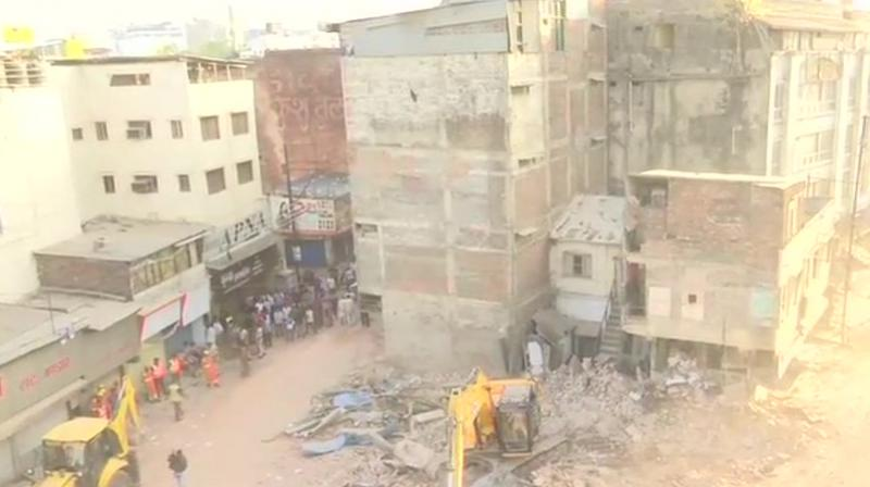 The building, which hosts a hotel and lodge, collapsed around 9:20 pm, following which police personnel were deployed for rescue operations. (Photo: ANI/Twitter)