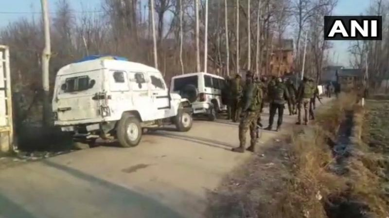 Three terrorists were gunned down in an encounter between militants and security forces in Pulwama's Kharpora Sirnoo village. (Photo: ANI)