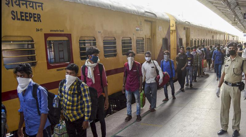 There were the penniless but luckier migrant workers in their thousands travelling on the Shramik special trains paying the normal ticket fair and an extra Rs 50 for the ride which will take them home. PTI Photo