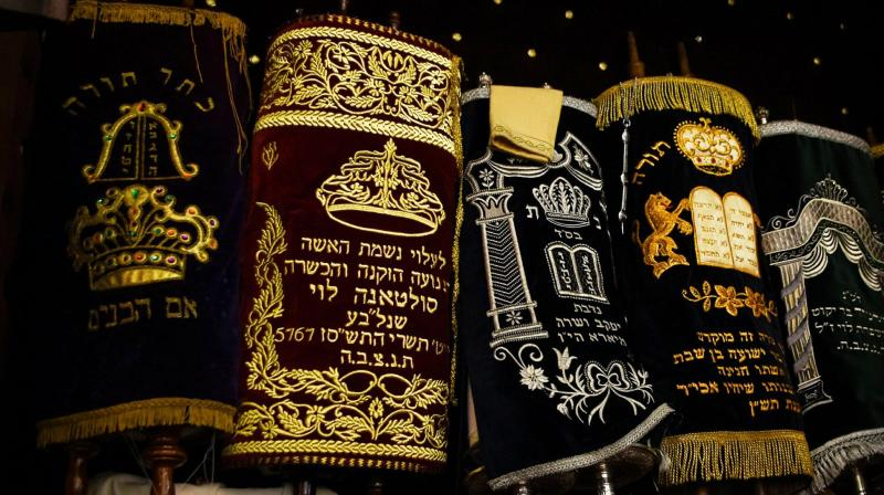 The Torah scrolls in the ark of Em Habonim Synagogue of Casablanca, Morocco. (Photo: AP)