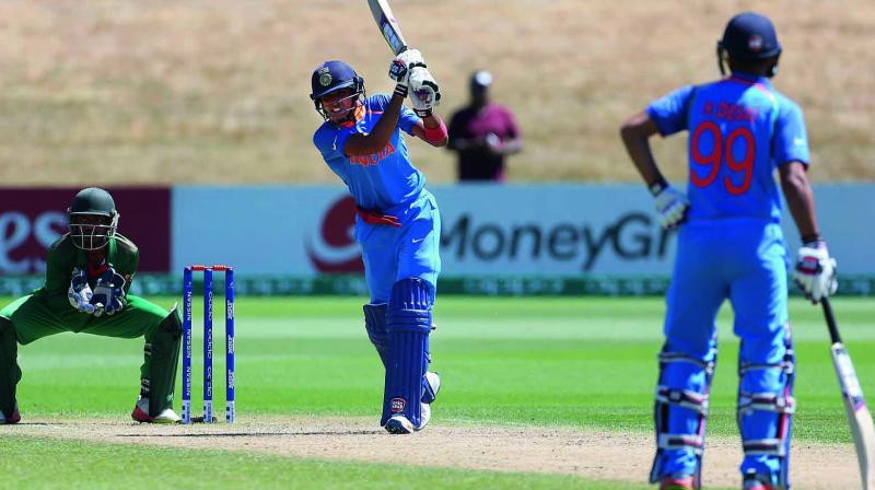 Shubham Gill top-scored with 86 in India's 131-run win over Bangladesh in their ICC Under-19 World Cup quarter-final at Queenstown on Friday.(Photo: ICC)