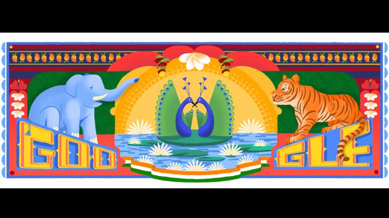 According to Google, today's doodle, featuring some of India's most iconic animals, was inspired by Indian truck art.
