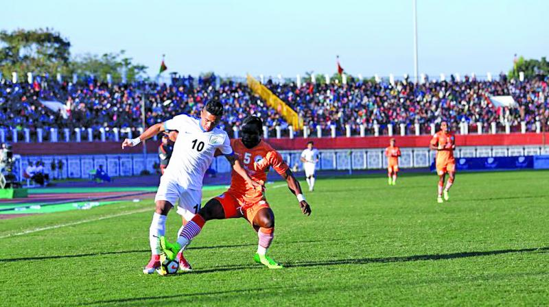 Action from the I-League match between Neroca FC and Indian Arrows in Imphal on Friday.